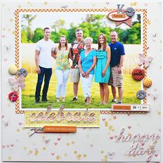 Happy day layout by Adrienne Alvis using Lily Bee Design Pinwheel and Sweet Shoppe collections #scrapbooking #lilybeedesign #cuttingfile