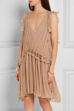 Chloé | Ruffled silk-chiffon mini dress | NET-A-PORTER.COM