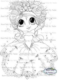 INSTANT DOWNLOAD Digital Digi Stamps Big Eye Big Head Dolls Bestie New Bestie Scann009 Fairy Princess My Besties By Sherri Baldy