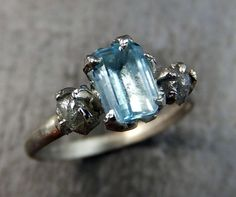 Raw Uncut Diamond Aquamarine White Gold Engagement by byAngeline