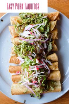 Flautas, also known as Taquitos are crispy rolled tacos. These flautas are filled with roast pork. Use chopped pork roast or shredded pork (a great way to use up leftovers). They are perfect for parties or make into dinner with shredded lettuce and sour cream on top. The entire recipe uses only three ingredients. Learn how to make them at home! #flautas #pork #taquitos #mexicanfood