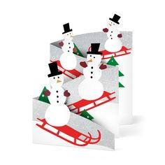Sledding Snowman Holiday Cards - Set of 8 in color Holiday Cards, Christmas Cards, Christmas Ornaments, Holiday Decor, Winter Cards, Holiday Ideas, 3d Cards, Folded Cards, Pop Up Greeting Cards