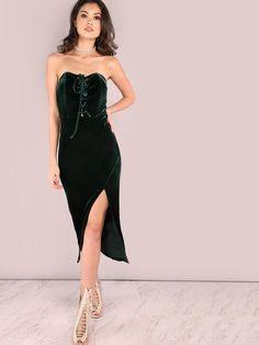 Green Lace Up Front Slit Velvet Bandeau Dress - Zooomberg