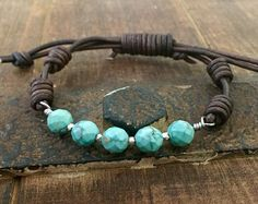 Turquoise and sterling silver wired leather bracelet, knotted boho rustic jewelry Rustic Jewelry, Stone Jewelry, Beaded Jewelry, Silver Jewelry, Beaded Bracelets, Wrap Bracelets, Men's Jewelry, Silver Ring, Silver Earrings