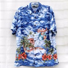 85868cc6 Details about Tommy Bahama SS Hawaiian Camp Shirt Hibiscus/Palm Trees Silk  Men's Large