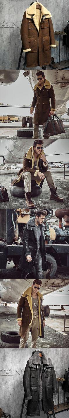 Luxury X-Long Military Style Men's Shearling Coat Men's Fur Parka. Imports Wool From Australia Sheepskin Jacket Black And Light