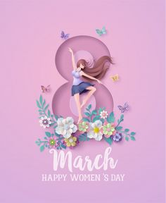 International Womens Day 8 march with frame of flower and leaves , Paper art from digital craft style. Cherry Blossom Background, Pink And White Background, White And Pink Roses, Women's Day 8 March, 8th Of March, Happy Woman Day, Happy Women, Womens Day Quotes, Rose Frame