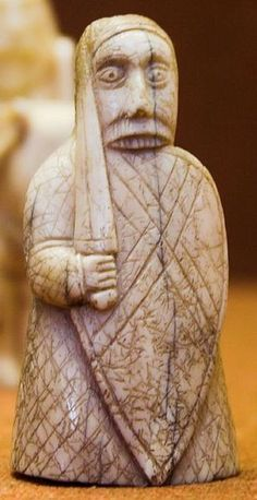 A berserker rook, from Lewis chess set in the British Museum. Likely 12c. Norwegian in origin.