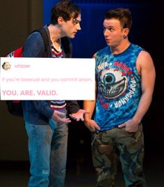 Word around the block is is a dad now? Yeah this is his son on the right isn't he a cutie? Be more chill show pictures Theatre Nerds, Musical Theatre, George Salazar, Michael In The Bathroom, Be More Chill Musical, Michael Mell, Two Player Games, Chill Pill, Dear Evan Hansen