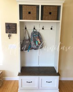 Entryway bench with shoe storage and coat rack compliments a Foyer Mud Room La Coat And Shoe Storage, Entryway Shoe Storage, Bench With Shoe Storage, Small Bathroom Storage, Kitchen Storage, Cubbies, Shelves, Creative Decor, Mudroom