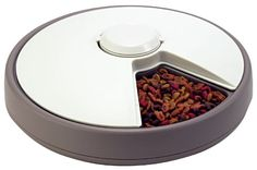 $39.00-$59.99 Lentek 6-Day Automatic Pet Dish - The Lentek Automatic Six Day Pet Dish is a quick and easy solution for busy, on-the-go pet owners. It has 6 separate food trays that each hold 2/3 a cup of dry, or 5.5-oz of moist food. It allows you to switch selectable pet feeding intervals and includes 2 refreshable inserts to keep pet's food fresh. http://www.amazon.com/dp/B00006JHRE/?tag=pin2pet-20