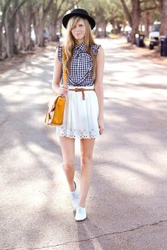 checked shirt and skater skirt