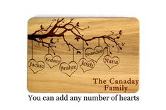 Mother's day gift Family tree Personalized Cutting Board Laser Engraved Gift for mom Birthday present Anniversary Gift Gift for mother
