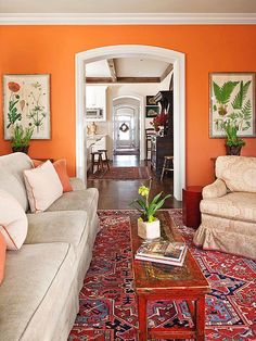 Cool Living Room Paint Idea Luxury Crazy Unique Paint Colors that Just Work Orange Rooms, Living Room Orange, Orange Walls, New Living Room, Orange Room Decor, Orange Kitchen Walls, Small Living, Kitchen White, Orange Painted Rooms