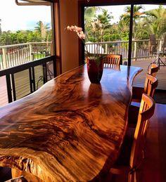 Monkey Pod Slab Dining Table, 12' Long Solid Slab #reclaimedwood #naturaledge #liveedge #slabtable #slabfurniture #monkeypodtable #wooddiningtable #kini #kinifurniture #kiniwaimanalo #hawaiianhardwoodfurniture