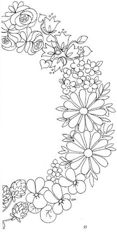 Den Store Maleboken Pintura Alemanha - soniartes pintura - Álbuns da web do Picasa Embroidery Floral Wreath Part Two Coloring for adults - Kleuren voor volwassenen Flower wreath - flip for the other half. Arts And Crafts Canvas Ideas Hand Embroidery Designs, Ribbon Embroidery, Embroidery Stitches, Embroidery Patterns, Tole Painting, Fabric Painting, Painting Patterns, Craft Patterns, Flower Patterns