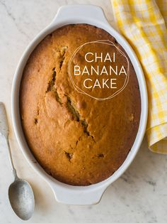 Chai Banana Cake  Made this today and added a basic cream cheese frosting on the top only (kind of like a big cupcake).  I sprinkled a tiny amount of fresh nutmeg on that.  This was delicious!  It tasted mostly of chai with a hint of banana.  Would be great for afternoon tea!  -Larn