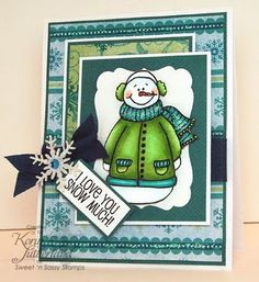 Adorably fun winter card with such a cute sentiment. #card #winter #snowman…
