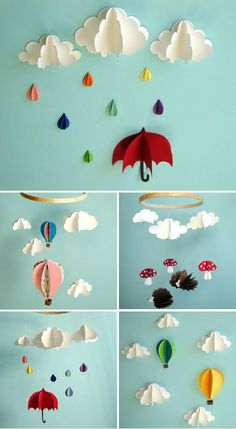 3D Paper Mobiles and Wall Art. This is really easy it just takes a bit to cut out all the paper. I haven't made the clouds yet but the balloons look so cute on the wall of the play area.