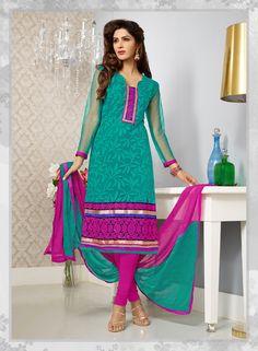 greenish blue color having pink net #designer #salwarkameez..