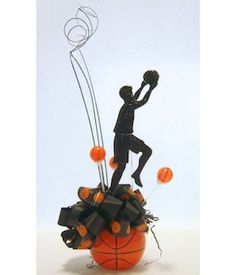 DIY Basketball Star Player Centerpiece for theme party table decorations, bar and bat mitzvahs. Sports Centerpieces, Bar Mitzvah Centerpieces, Bar Mitzvah Themes, Bar Mitzvah Party, Party Table Decorations, Diy Centerpieces, Bat Mitzvah, Banquet Centerpieces, Diy Bar
