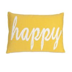 "20"" Embroidered Lemon Yellow and White ""Happy"" Decorative Throw Pillow"