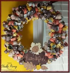 Stampin' Up! Paper wreath, short verbal instructions, Fall, DSP, Autumn Accents Die, Glimmer Paper, Expressions Thinlit