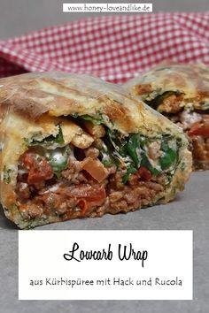 Lowcarb Wrap aus Kürbispüree mit Hack und Rucola Pulled Pork, Meat, Chicken, Ethnic Recipes, Food, Grilled Squash, Baked Pumpkin, Savory Foods, Minced Beef Recipes