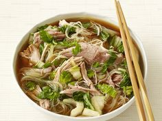 Slow cooker pork and bok choy noodle soup