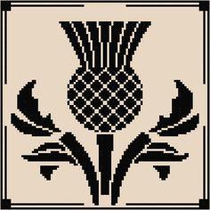 SIKA STITCH @ www.ETSY.com Scottish Thistle Silhouette [Cross Stitch] **Download PDF Pattern Only**
