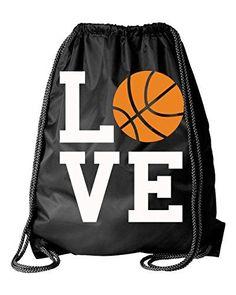 Black Basketball Square Love Drawstring DuroCord Bag (Bla