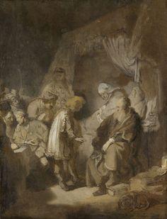 Jozef vertelt zijn dromen aan zijn ouders en zijn broers, Rembrandt Harmensz. van Rijn, 1633