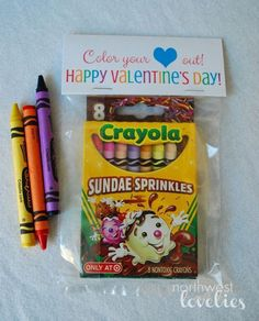 Top 50 non-candy Valentine ideas! Color Your Heart Out Valentines! Great non-candy Valentine Kinder Valentines, Valentines Day Party, Valentine Day Crafts, Preschool Valentine Ideas, Valentines Ideas For School, Preschool Class, Valentine Gifts For Toddlers, Valentines Ideas For Preschoolers, Homemade Valentines