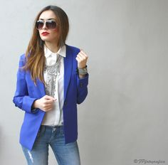 Valentina in her blue short Sumissura jacket Blazer And Shorts, Blue Shorts, Royal Blue Blazers, New Trends, Suits For Women, Shirt Dress, Female, Coat, Womens Fashion