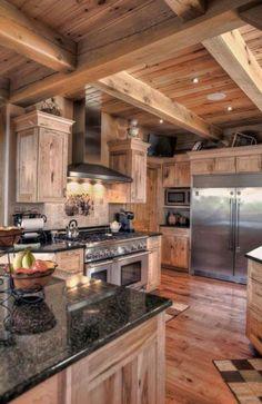 Como una cocina rústica decorada con todo lo necesario nos da un ambiente de calor y hogar para disfrutar todo el año⛄