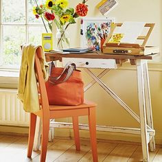 Country home office with orange chair | Home office decorating