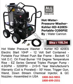 Hot Water Pressure Washer-Kohler-KD-420ES-Portable-3200-PSI This Pressure Washer includes an Upgraded ExternalRecirculation Plumbing Feature that cools the water while the triggergun is closed. The extended service life Triplex Ceramic Plunger Pumpholds up to commercial and professional daily use.