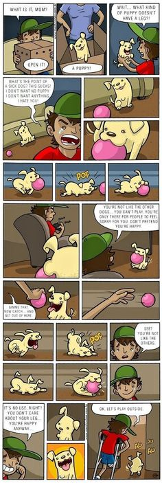 Comics usually make us laugh. But this comic about a 3 legged dog just might make you cry. In a good way This is going crazy viral right now! Well done, Mentirinhas. Try Not To Cry, Make You Cry, Sweet Stories, Cute Stories, Sad Dog Stories, Dog Comics, Funny Comics, Comics Story, 3 Legged Dog