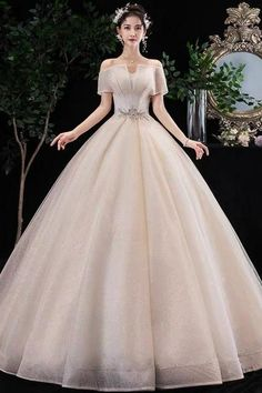 Champagne Wedding Dress Off Shoulder Wedding Dress V-neck Wedding Dress Ball Gown Wedding Dress Off Shoulder Wedding Dress, V Neck Wedding Dress, Tulle Wedding, Wedding Gowns, Lace Evening Dresses, Ball Dresses, Ball Gowns, Formal Dresses, Pastel Outfit