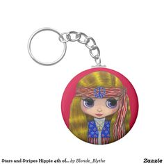 Stars and Stripes Hippie 4th of July Keychain