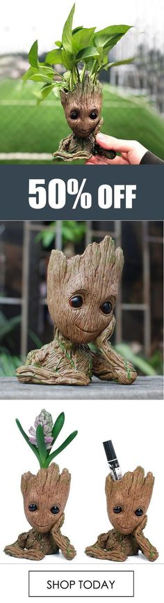 Groot Man Planter Pot This little flower pot is good for being inside on your desk, or outside in the garden. Makes an AMAZING home decor gift! Do It Yourself Home, My New Room, Garden Art, Indoor Plants, House Plants, Flower Pots, Outdoor Gardens, Diy And Crafts, Planter Pots