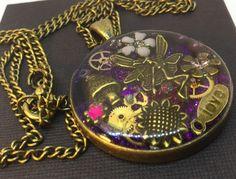 Timeless purple Steampunk pendant steampunk jewellery purple