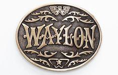 Waylon Jennings Western Antique Silver Belt Buckle - Accessories - Waylon Jennings Merch Co. Country Belt Buckles, Custom Belt Buckles, Brass Belt Buckles, Rodeo Belt Buckles, Turquoise Jewelry, Silver Jewelry, Indian Jewelry, Men's Jewelry, Silver Earrings