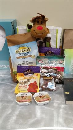 Pet Supplies Plus gift bag full of treats for a dog.