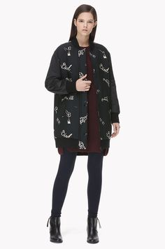Casual pattern long bomber