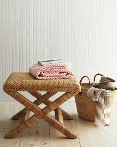 Sweater-Weave Seagrass Cross Bench - Garnet Hill