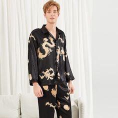 e5b07f5d2e #ad Men Dragon Print Satin Pajama Set | SheIn | Price: $22.00 | Black  Casual Long Sleeve Animal Pajama Sets Button Spring Men Loungewear.