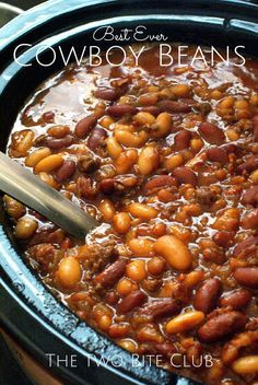 Crock Pot Cowboy Beans are a hearty and filling side dish made with a pound a beef, a pound of bacon, and three kinds of beans, all slow-simmered in a sweet and tangy brown sugar molasses sauce!