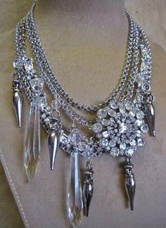 make it.   Bombshell Bride: Glam Vintage Assemblage Statement Choker Necklace Bling Rhinestones Crystals Daggers. $225.00, via Etsy.