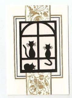 Window cats peel off handmade cards Window Cards, Cat Cards, Die Cut Cards, Handmade Cards, Craft Projects, Card Making, Cats, Frame, Ideas